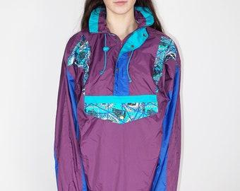 purple pullover windbreaker size L, retro vintage nylon lightweight jacket, colorful 80s 90s windbreaker, hooded spring summer jacket