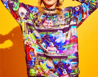 Dead End Kids cyberpunk print sweater