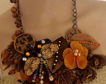 Artisan necklace Bohemian  Inspiration african  vintage laces and trims Inspiration- Baroque