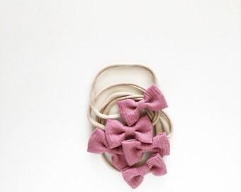 Headband- Dainty Headband   Mauve Dainty Bow