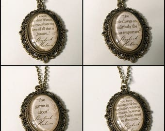 Sherlock Holmes Quote Cameo Necklace