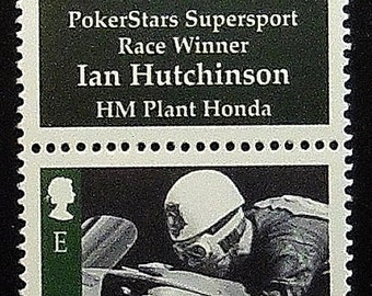 PokerStars Supersport Race Winner Ian Hutchinson Honda Motorcycles -Handmade Postage Stamp Art 13437
