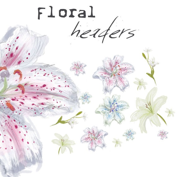 Floral Illustrations - Lilies - digital download for bible journaling, card making and craft