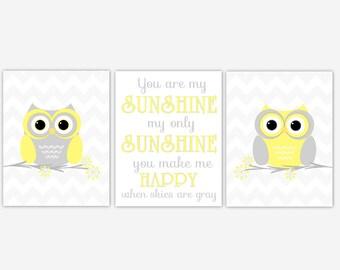 Baby Nursery Art Yellow Gray Owls You Are My Sunshine Owl Nursery Wall Decor Baby Boy Baby Girl Nursery Baby Nursery Decor Prints Artwork