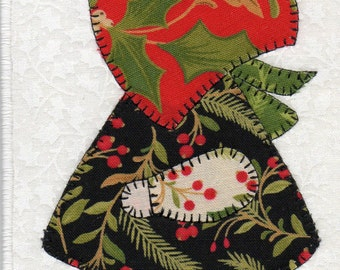 Christmas Sue, A Sunbonnet Sue Quilted Fabric Postcard