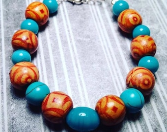 Wood and glass beaded bracelet.