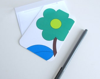 Floral Note Card Bright Color Flower Note Card Pop Art Flower Stationery Patterned Card Modern Floral Notes Green Yellow Blue Thank You Card