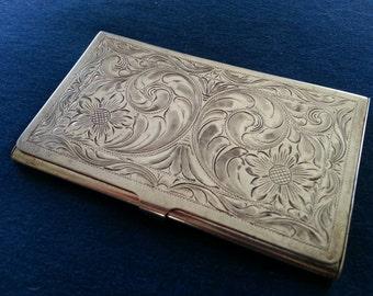 Vintage Sterling Business Card Case, Hand Engraved Sterling Card Case, Vogt Sterling