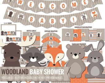 Woodland Baby Shower Decorations Package. Printable Baby Shower Decor - Cute Woods Gender Neutral Shower - Digital Download