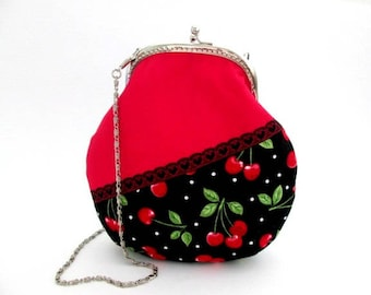 Small crossbody bag, red cherries cotton fabric, long bag chain, shoulder purse, sling frame purse
