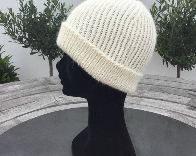 Ladies alpaca beanie hat, pure alpaca, cream hat, reversible watch cap by Willow Luxury (one size)