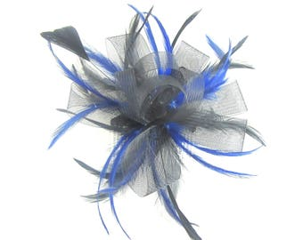Black and royal blue fascinator comb, weddings, races, ladies day
