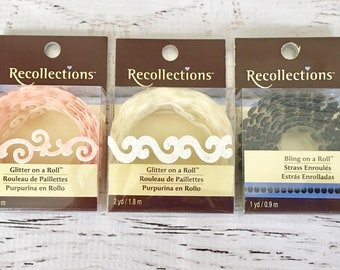 Recollections Glitter/Bling on a roll, 1 yd ea, embellishment, planners, scrapbooks, mini albums, art journal, card making, paper crafting