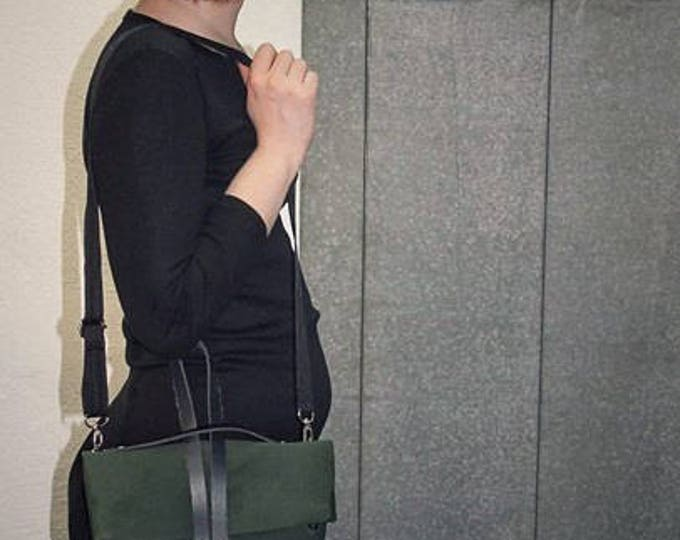 Mamzelle Michelle bag, clutch or messenger adjustable and eco-friendly black and green