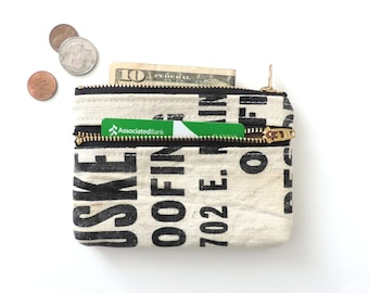 Recycled Coin Purse Wallet Double Zipper Pouch Canvas