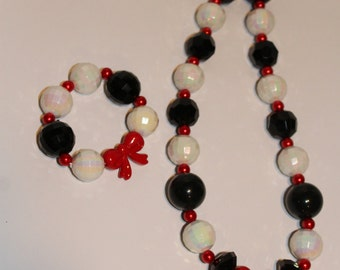 Cruella DeVille Inspired Chunky Necklace and Bracelet Set - JTJ15133