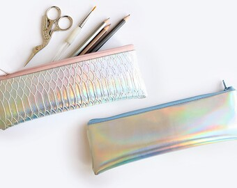 Holographic Pencil case / small pencil case, customizable color zipper