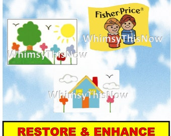 Vintage Fisher Price Little People Replacement Litho Sticker Decal 929 Nursery School Play Family Accessories