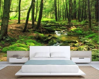Lovely FOREST Wallpaper, River Forest Wall Mural, Green Forest Wallpaper, Forest  Mural, Green