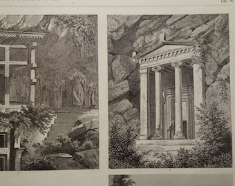 """LYCIAN Rock Tombs old print 1870 original antique pictures of Tomb Agamemnon Mycenae Greece Treasury of Atreus poster prints 10x13"""" vintage"""