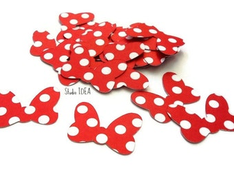 "2"" Minnie Inspired Bow Cut outs- polka dots Bow- Double sided Minnie Bow, Set of 30pcs, 60pcs, 120pcs"