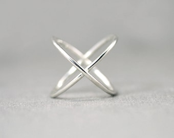 Criss Cross Ring - X Ring - Silver X Ring - Sterling Silver X Ring - Silver Cross Ring - Gold Criss Cross Ring - Gold X Ring Ring for Women