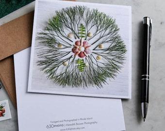 Banyon Tree Mandala Note Card with 5x5 square envelope, blank inside