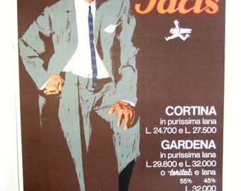 Original 1960s Italian menswear fashion poster. Facis Cortina in Purissima Lana. Linen-backed.