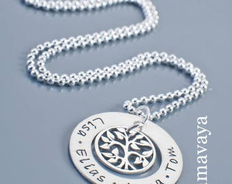 Name chain FAMILY TREE 925 Silver necklace tree of life family jewelry