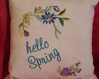 Hello Spring Embroidered Linen Decorative Pillows