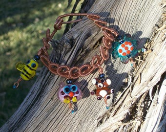 Handmade Lampwork Charm Bracelet with Upcycled Copper Wire