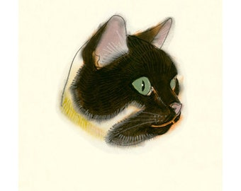 Cat Art Print - Cat artwork -   4 for 3 SALE - Reflecting - 4 X 6 print