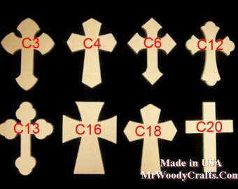 "10  6"" x 9"" x 1/2"" Thick Wooden Crosses ready for painting, made in USA, ships in less then 5 Days, 060950-10"