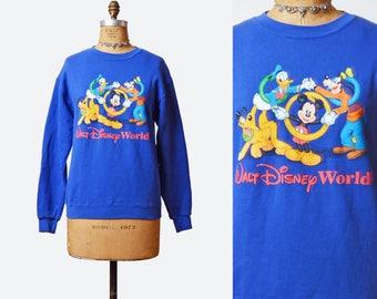 Vintage 90s Mickey Mouse and Friends Sweatshirt Disney Sweater / 1990s Disney World Grunge Shirt Blue Cartoon Hipster Retro Medium Large