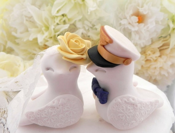 Military Wedding Cake Topper, Love Birds, Marine Hat, White, Yellow and Navy - Bride and Groom Keepsake