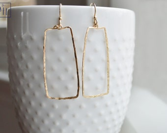 Rectangular Dangle Hammered Earrings by The Statement House, Gold, Rose Gold, or Sterling Silver Drop Earrings