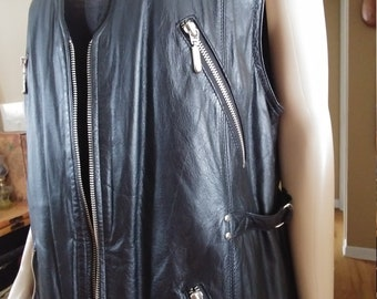 Leather Vest With Metal Zippers Front And Pockets Size M