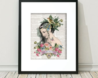 Steampunk, Steampunk Art, Goddess, Bohemian,  Steampunk Wall Art, Beautiful Woman, Victorian Woman, Mixed Media, Vintage, Victorian Lady