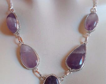 NECKLACE 925 sterling silver and genuine Amethyst (CO64)