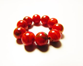 D-00933 - 10 Glass beads 8mm Red-Green