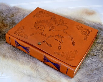 Unicorn Leather Journal // Personalized Leather Book with Mythical Beast, Symbol of Scotland