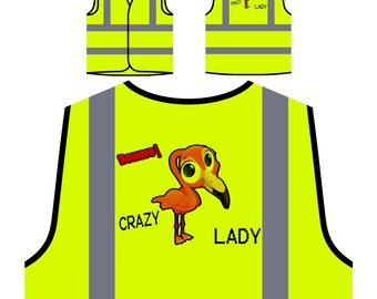 Crazy Flamingo Lady Yellow Safety Jacket Vest u325v