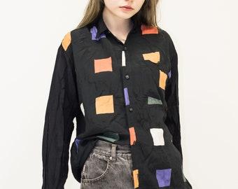 VINTAGE Black Checked Colour Mixed Retro Shirt