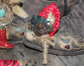 Cowboy Boutonniere, Western Boutonniere, Leather look Boutonniere,Red Bandana Boutonniere