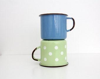 Vintage enamel mugs // Blue Green Polka Dot // Set of two