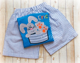 Easter shirt or bodysuit- Easter bunny shirt or bodysuit- Boy bunny shirt- Boy Easter shirt- Bunny shirt- Boy shorts- Easter set- Boy Bunny