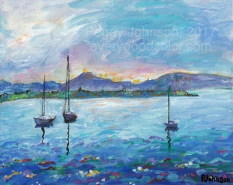 sailboats seascape blue pink sunset painting San Juan Islands CANVAS or PAPER giclee print  Peggy Johnson every good color