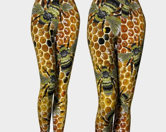 Bumble Bees Yoga Capris XS-S-M-L-XL Insect Nature Art Honey Honeycomb Wearable Art Clothes Women Teen Girl Pants Clothing Fashion Bottoms