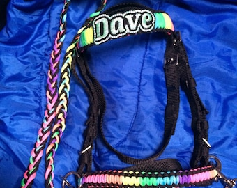 Personalised bridles can come as bitless or regular (suitable for a bit) style. Any colours made