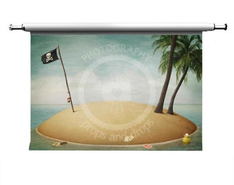 Pirate Island Printed Photography Backdrop : WALL ONLY
